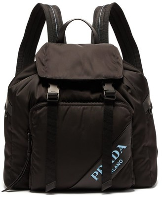 Prada Logo Nylon Backpack - Womens - Black