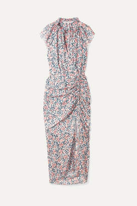 Veronica Beard Brynlee Wrap-effect Ruched Floral-print Silk-voile Midi Dress - Blue