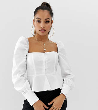 340f50a7b9 Missguided Petite square neck peplum blouse with puff sleeve in white