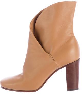 CelineCéline Leather Round-Toe Booties