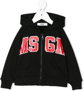 MSGM Kids logo zipped hoodie