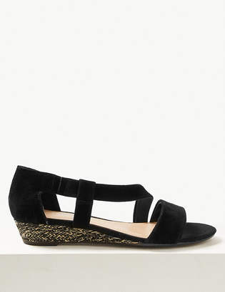 Marks and Spencer Wide Fit Suede Cross Over Strap Sandals
