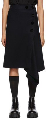 Sacai Navy Melton Wool Skirt