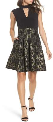 Vince Camuto Ity Jacquard Fit & Flare Dress (Regular & Petite)