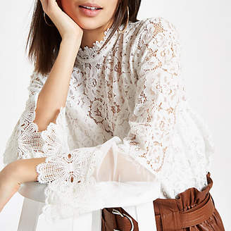 River Island Womens White lace high neck long sleeve top