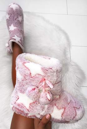 Pink Boutique Under The Stars Pink Fur Star Boot Slippers