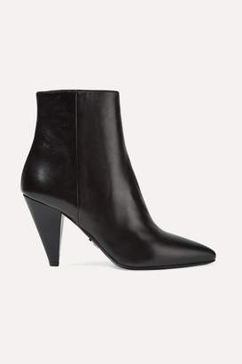 Prada Leather Ankle Boots - Black