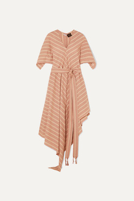 Loewe Paula's Ibiza Belted Striped Cotton-gauze Midi Dress - Beige