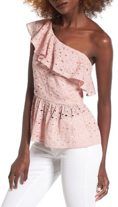 Women's J.o.a. Lace One-Shoulder Peplum Top $69 thestylecure.com