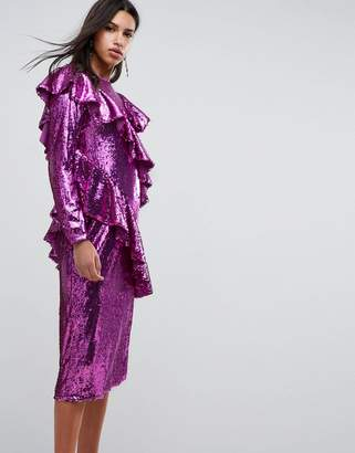 Asos Design Embellished Deconstructed All Over Sequin Midi Dress