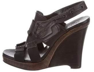 Derek Lam Leather Wedge Sandals Black Leather Wedge Sandals