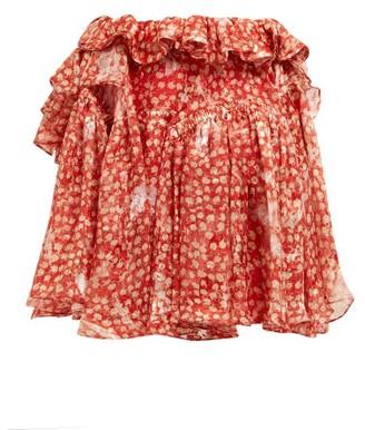 Preen by Thornton Bregazzi Dolores Ruffled Silk Blend Mini Skirt - Womens - Red