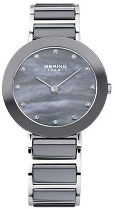 Swarovski BERING Grey Dial Ceramic Stainless Steel and Crystal Element Bracelet Watch