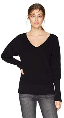 Cable Stitch Women's Puff Sleeve V-Neck Sweater