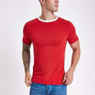 River Island Red ringer muscle fit T-shirt