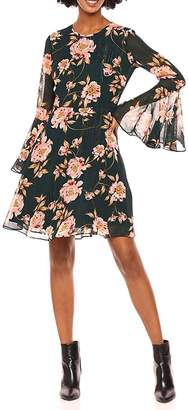 Donna Morgan Floral Bell-Sleeve Chiffon-Dress