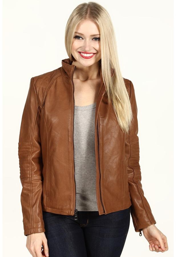 DKNY Leather Scuba Jacket (Luggage) - Apparel
