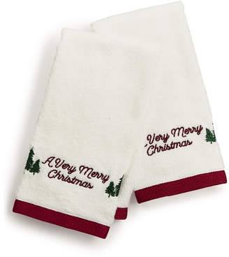 Martha Stewart Collection Closeout! Collection Very Merry Embroidered Cotton 2-Pc. Fingertip Towel Set