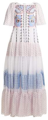Temperley London Bourgeois Embroidered Detailed Silk Gown - Womens - White Multi