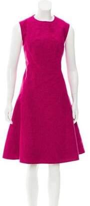 Lela Rose Embroidered Sleeveless Dress Magenta Embroidered Sleeveless Dress