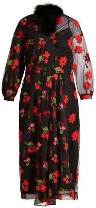 Simone Rocha Asymmetric floral-embroidered tulle dress
