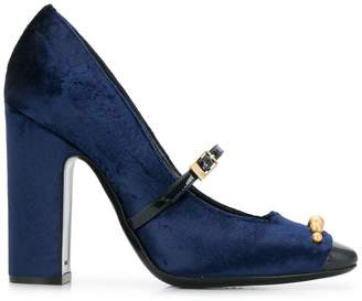 Pollini studded velvet pumps