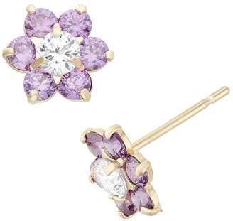 Junior Jewels Cubic Zirconia 14k Gold Flower Stud Earrings - Kids