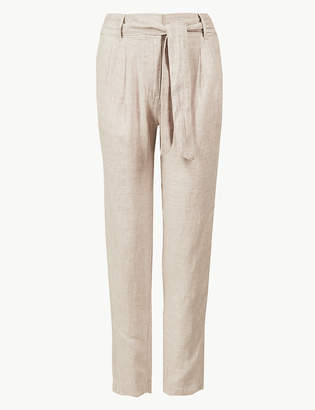 Marks and Spencer Pure Linen Ankle Grazer Peg Trousers
