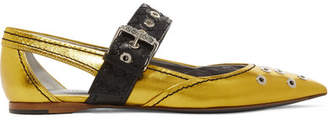 Bottega Veneta Cutout Embellished Metallic Leather Flats - Gold