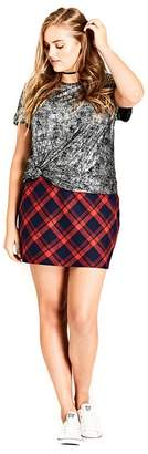 Evans City Chic Red Checked Mini Skirt