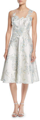Rickie Freeman For Teri Jon Floral Jacquard Tulle-Yoke Cocktail Dress