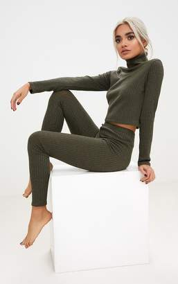 PrettyLittleThing Khaki Rib Roll Neck Legging Set