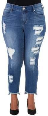 Melissa McCarthy Plus Plus Distressed Hi-Lo Skinny Jeans