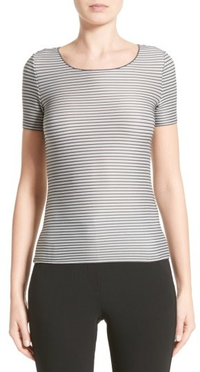Women's Armani Collezioni Striped Piped Jersey Tee