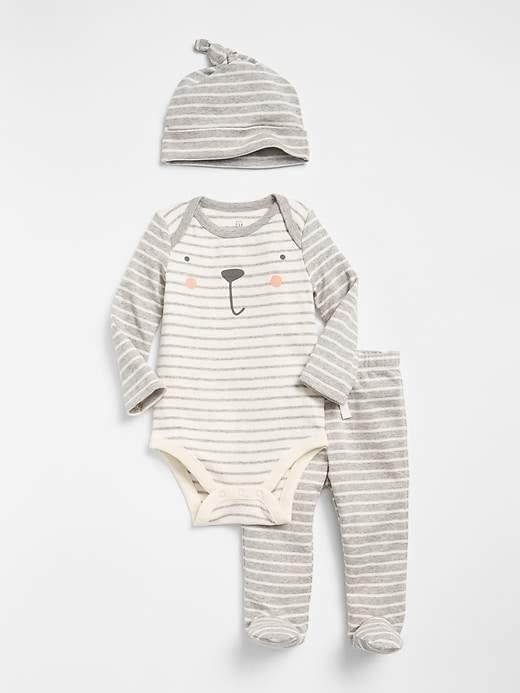 Graphic Stripe Bodysuit Set (3-Pack)