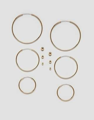 Monki Stud And Hoops Multi Pack In Gold