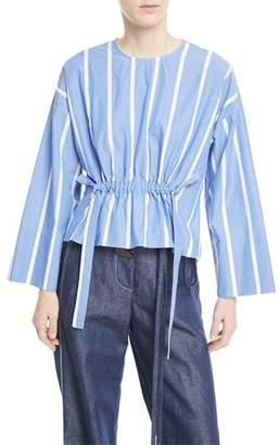 REJINA PYO Brooke Crewneck Drawstring-Waist Striped Cotton Blouse