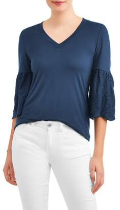 74552c8e6fb75 Time and Tru Women s Woven Eyelet Sleeve V-Neck Top