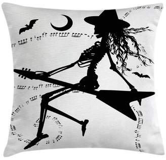 Ambesonne Music Decor Witch on Guitar Pillow Cover