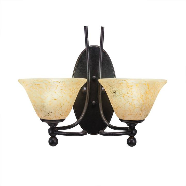 Cambridge Silversmiths Cambridge 2-Light Dark Granite Sconce with Clear Marbleized Glass