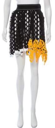 Christian Dior Open Knit Knee-Length Skirt Black Open Knit Knee-Length Skirt