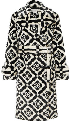 Mary Katrantzou Stokes Printed Faux Fur Coat - Black