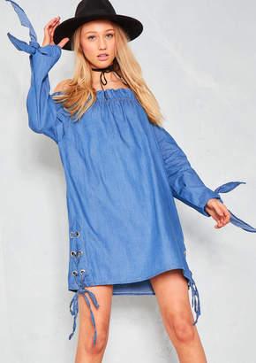 d251dba05f7235 Missy Empire Missyempire Dalia Denim Lace Up Bardot Dress