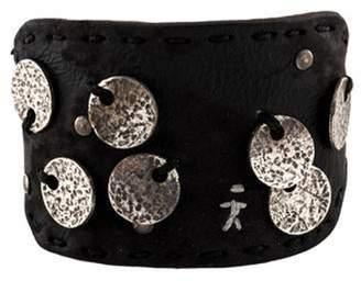 Henry Beguelin Leather Disc Bracelet Black Leather Disc Bracelet