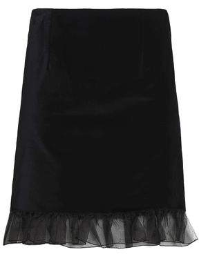 ALEXACHUNG Ruffled Organza-Trimmed Cotton-Velvet Mini Skirt