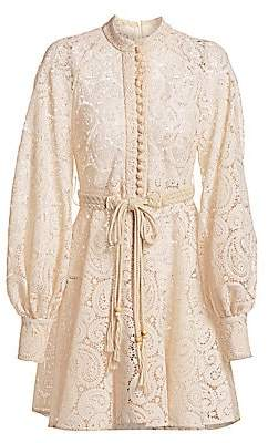Zimmermann Women's Amari Paisley Lace Long-Sleeve Dress