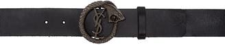 Saint Laurent Black Monogram Serpent Belt $395 thestylecure.com