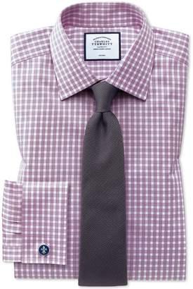 Charles Tyrwhitt Classic Fit Non-Iron Twill Gingham Berry Cotton Dress Shirt Single Cuff Size 15/35