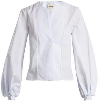Khaite - Enya Balloon Sleeve Cotton Shirt - Womens - Light Blue