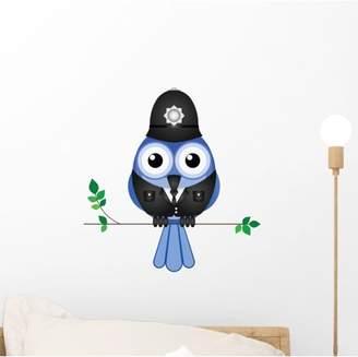 Wallmonkeys LLC Comical Bird Policeman Sat Wall Decal by Wallmonkeys Peel and Stick Graphic (12 in H x 12 in W) WM110821